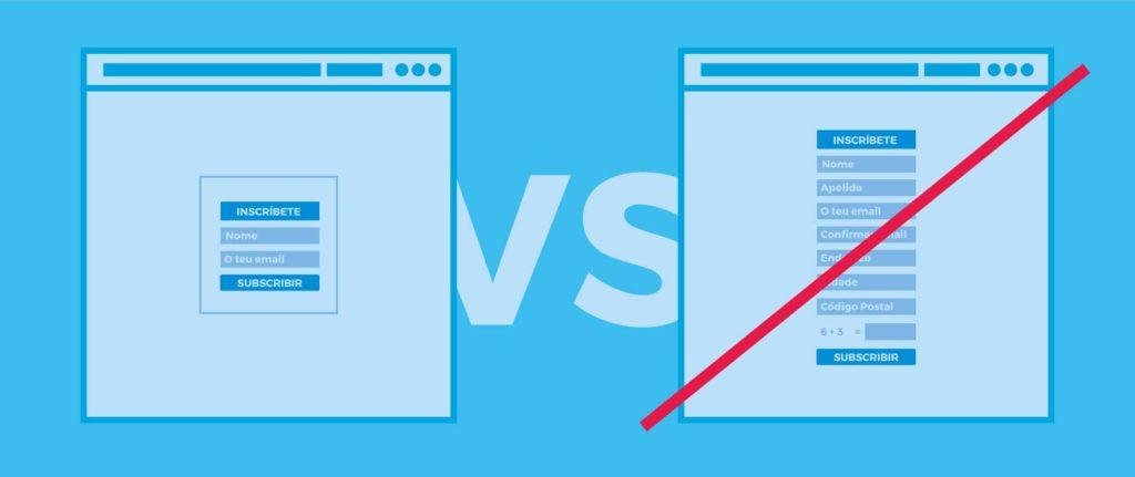Estratexias de deseño web 7. Reduce os campos de formulario